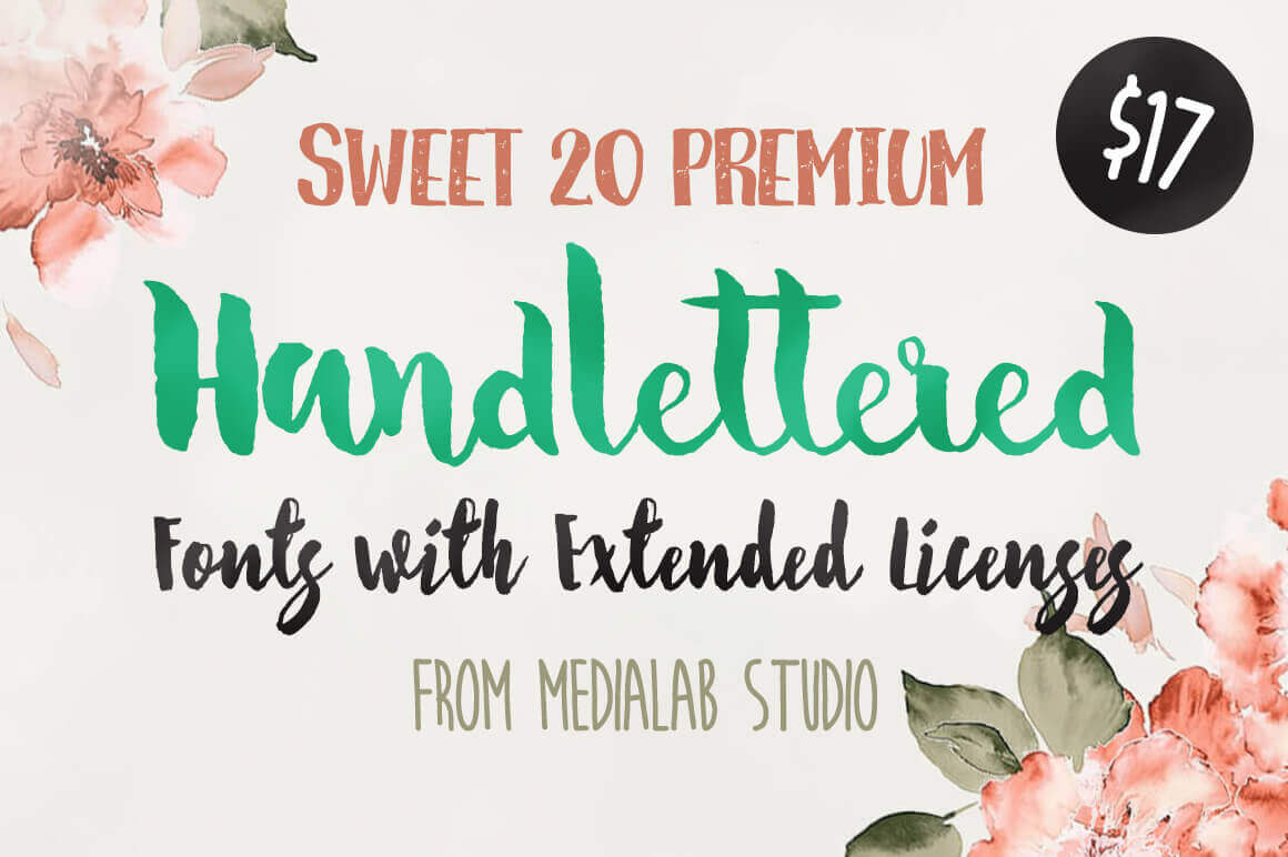Bundle: Sweet 20 Premium Handlettered Fonts – only $17!