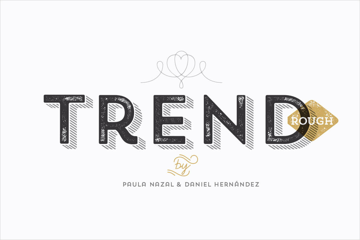 TREND ROUGH Font Family (includes 24 Fashionable Fonts) – only $19!