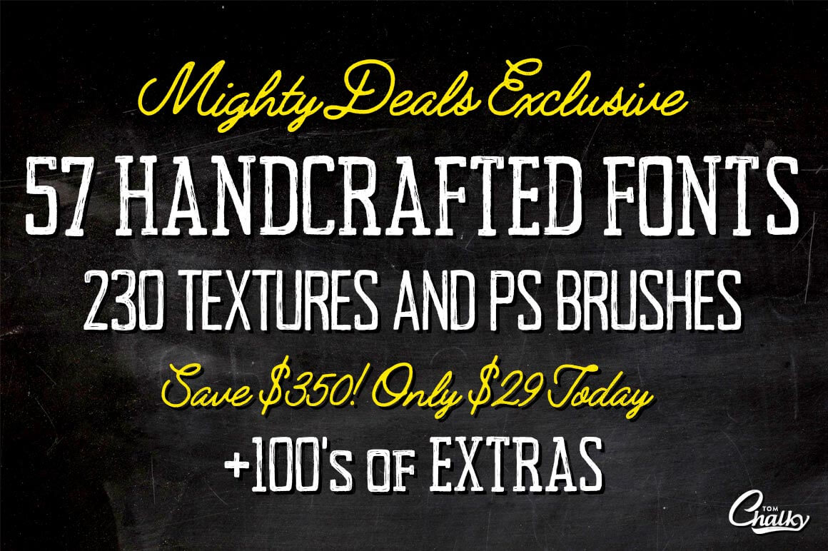57 Handcrafted Fonts, 230 Textures & 100s of Design Extras