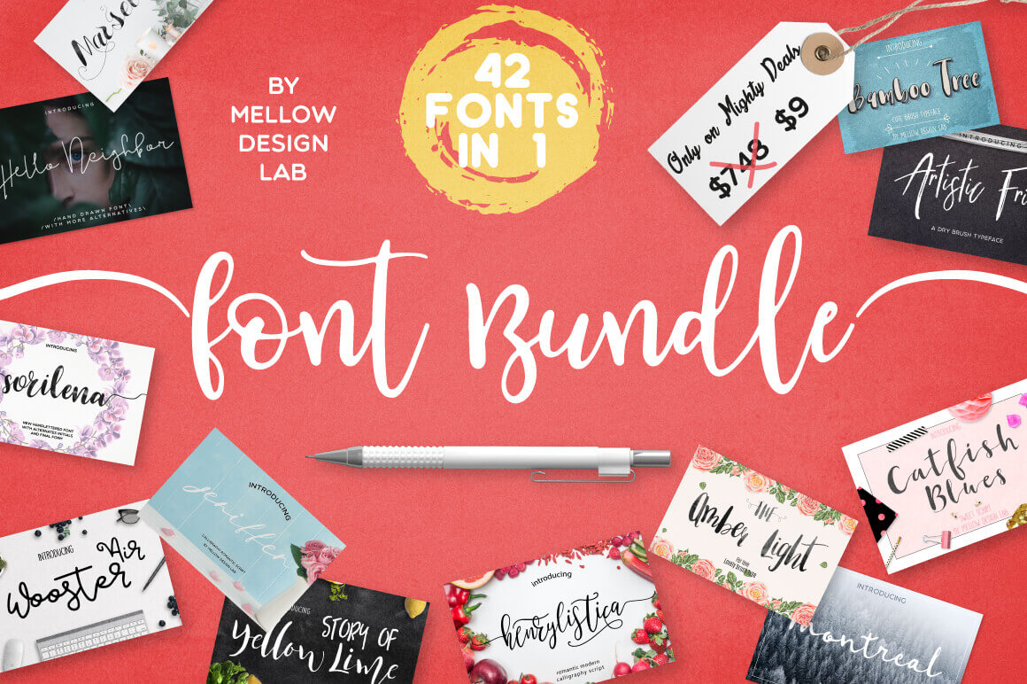 42 Professional Fonts from Mellow Design Lab