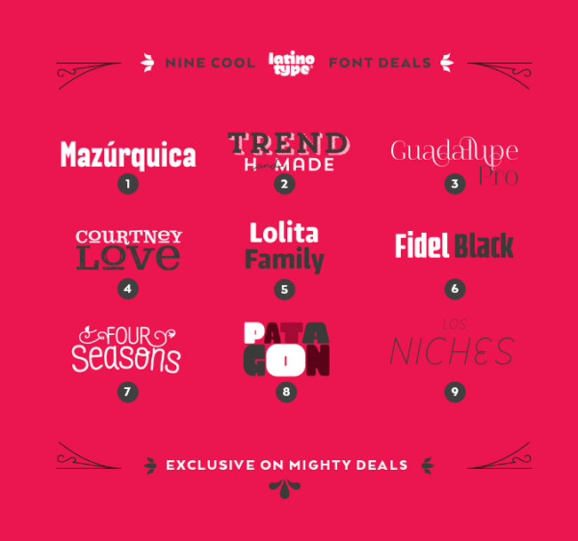 Latinotype Pack of 9 Fabulous Font Families