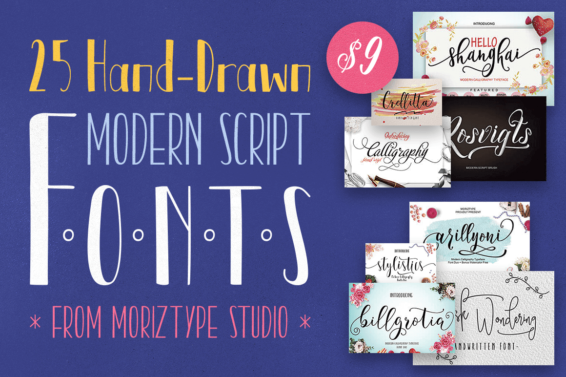 25 Hand-Drawn Modern Script Fonts from Moriztype Studio