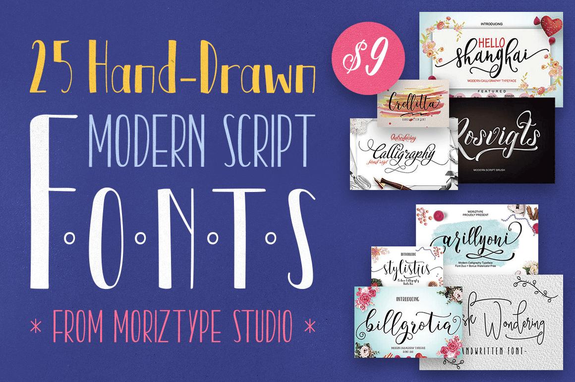 25 Hand-Drawn Modern Script Fonts from Moriztype Studio