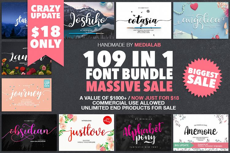 109 IN 1 BIGGEST FONT BUNDLE