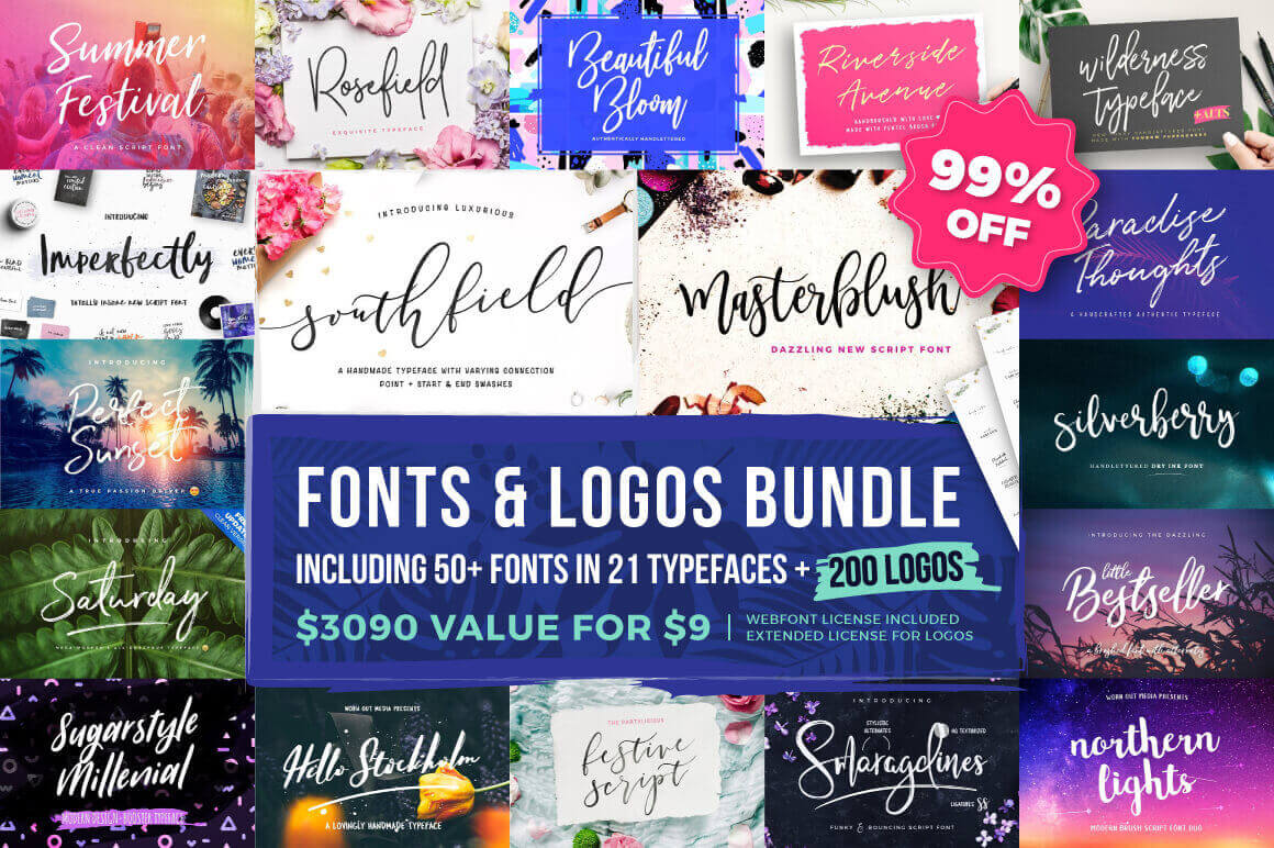 Typographer's Dream Box: 50+ Fonts & 200+ Logos – only $9!