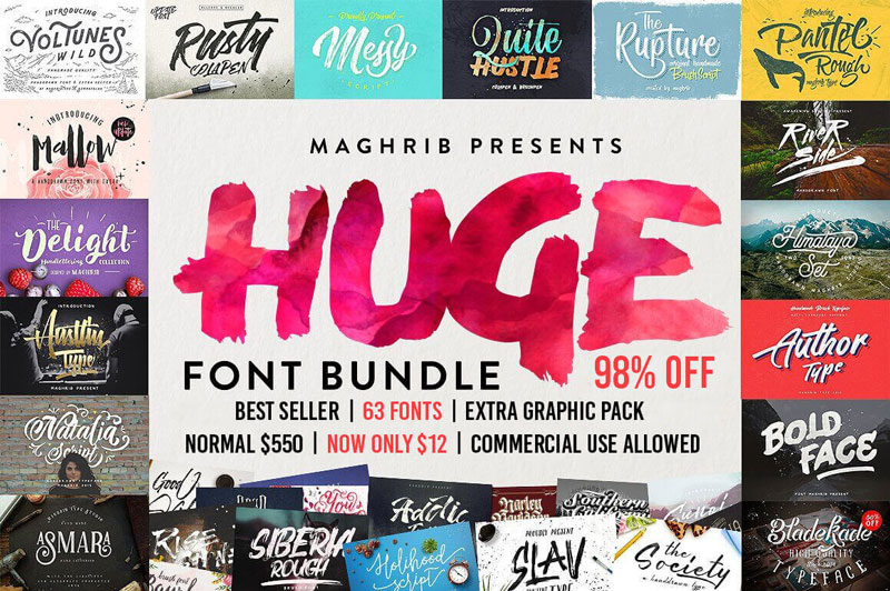 60+ Professional Best-Selling Fonts