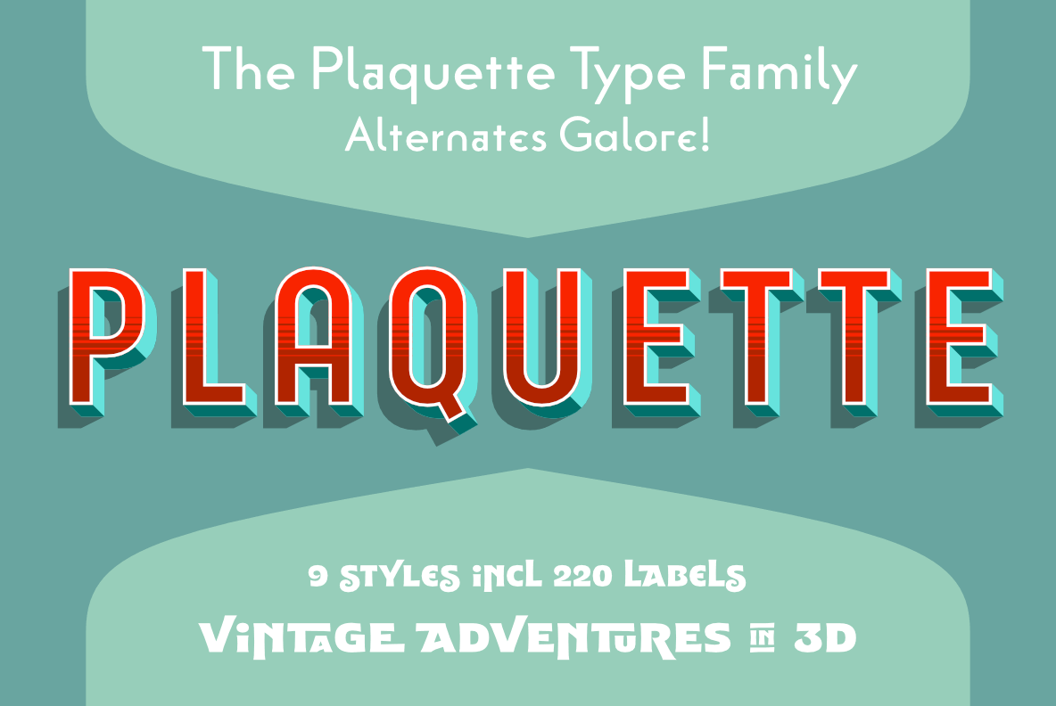 Plaquette – Chromatic Set of Fun Fonts With Gradients and Outlines
