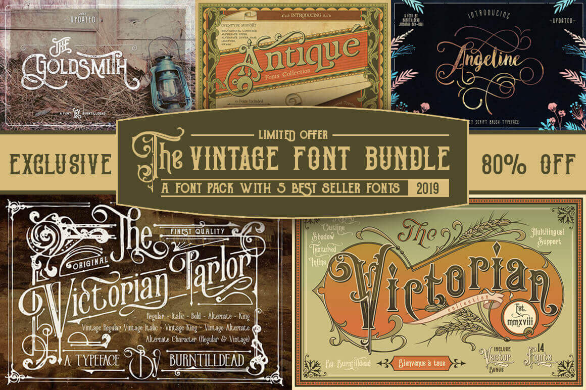 5 Popular Vintage Font Families from Burntilldead