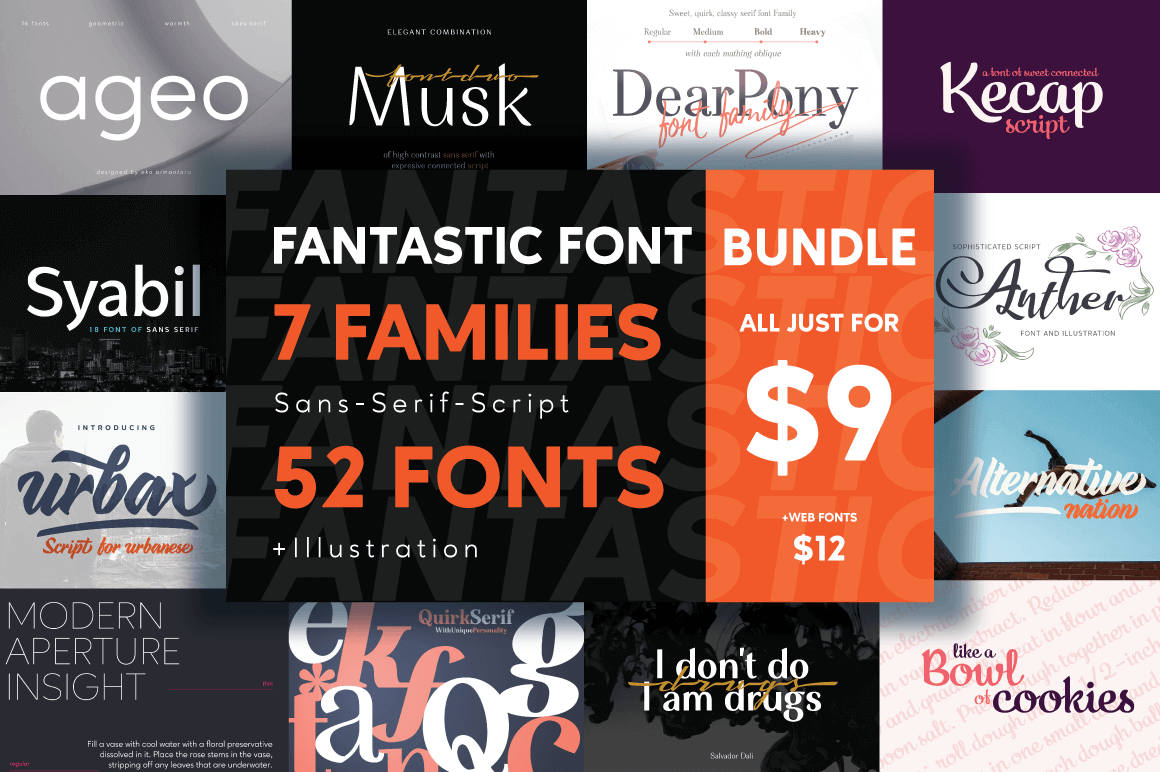Fantastic Font Bundle of 52 Typefaces