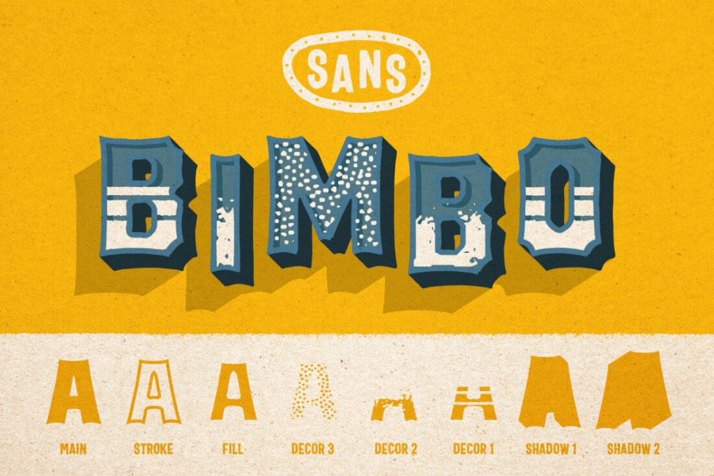 BIMBO Hand-Lettered Font Family of 26 Typefaces