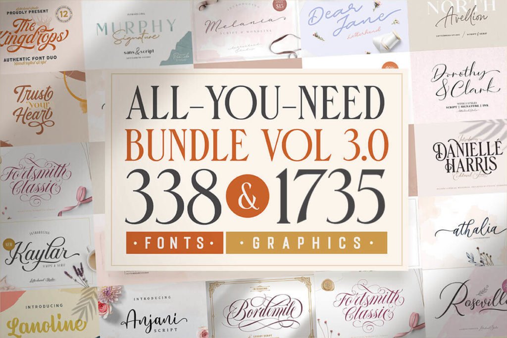 330+ Best-Selling Fonts & 1735 Premium Graphics